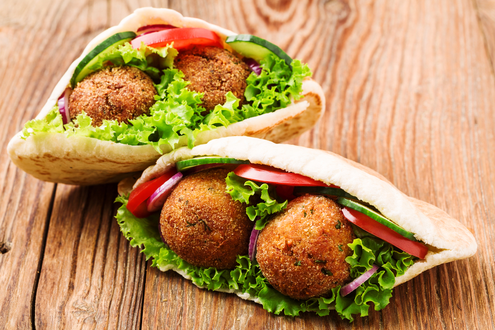Falafel on a wooden counter