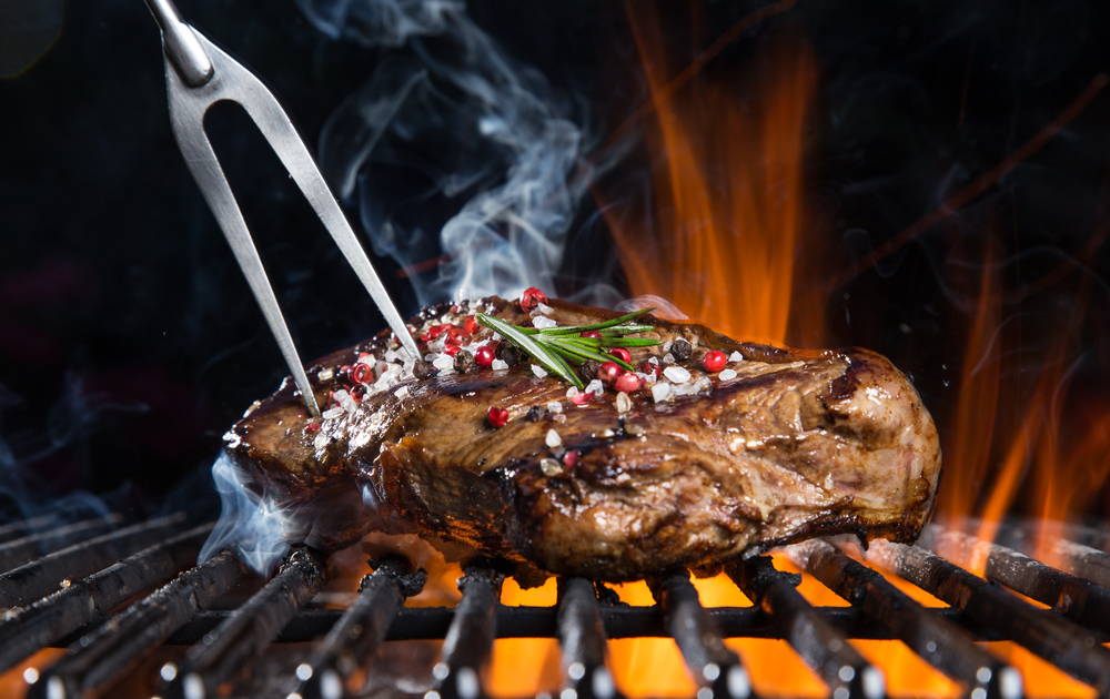 grilling steak grill fork