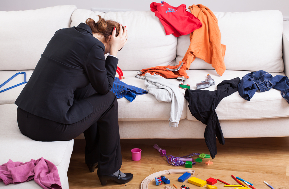 frustrated woman with mess