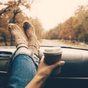 Woman with Travel Mug